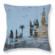 Atmospheric Hala Sultan Tekke Reflection At Larnaca Salt Lake Throw Pillow