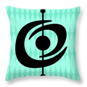 Atomic Shape 2 On Aqua Throw Pillow