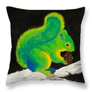 Atomic Squirrel Throw Pillow