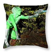 Attack Of The Green Invader Throw Pillow
