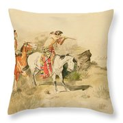 Attack On The Muleteers Throw Pillow