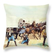 Attack On The Supply Train 1885 Throw Pillow