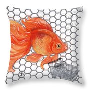 Attention Goldfish Shoppers Throw Pillow