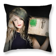 Attractive Pinup Girl. Blond Bombshell Throw Pillow