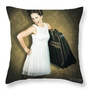 Attractive Young 1950s Woman Ready For Travel Tour Throw Pillow