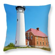 Au Sable Lighthouse In Pictured Rocks National Lakeshore-michigan  Throw Pillow