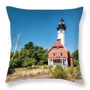 Au Sable Point Lighthouse Throw Pillow