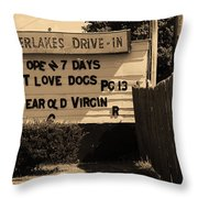 Auburn, Ny - Drive-in Theater Sepia Throw Pillow
