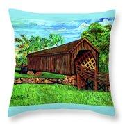 Auchumpkee Creek Covered Bridge Throw Pillow