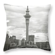 Auckland New Zealand Sky Tower Bw Texture Throw Pillow