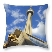 Audience Sculpture And The Cn Tower Throw Pillow