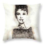 Audrey Hepburn Portrait 01 Throw Pillow