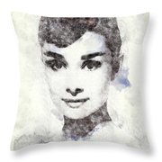 Audrey Hepburn Portrait 02 Throw Pillow