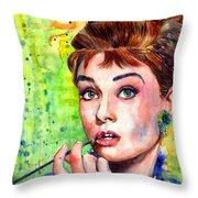 Audrey Hepburn Watercolor Throw Pillow
