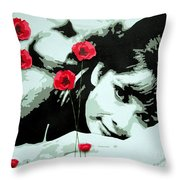 Audrey In Poppies Throw Pillow