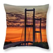 Audubon Bridge Sunrise Throw Pillow