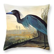 Audubon: Little Blue Heron Throw Pillow by Granger