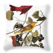Audubon: Tanager Throw Pillow