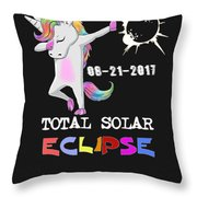 August 21 Solar Total Eclipse Funny Dabbing Unicorn Throw Pillow
