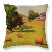 August Hay Field Throw Pillow