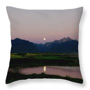 August Moon Over Mission Mountains And Ninepipes Refuge  Throw Pillow