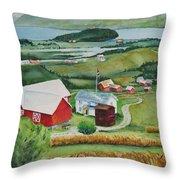 Aune Farm In Selbu Norway Throw Pillow