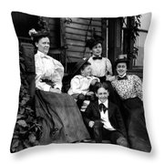Aunt Emma, Morris, Edith, Fred And Charles On Porch June 12, '97 Throw Pillow