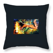 Aura Of Love - Palette Knife Oil Painting On Canvas By Leonid Afremov Throw Pillow