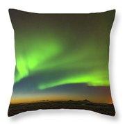 Aurora Above Keflavik In Iceland. Throw Pillow