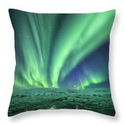 Aurora At Glacier Lagoon Throw Pillow
