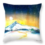 Mount Hood's Starry Crown Throw Pillow