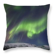 Aurora Borealis Over Blafjellet Throw Pillow