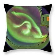 Aurora Borealis Over Churchill Throw Pillow