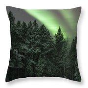 Aurora Borealis Over Finland Throw Pillow