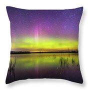Aurora Borealis Over Lake Sinai Throw Pillow