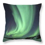 Aurora Borealis Over Prosperous Lake Throw Pillow