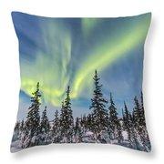 Aurora Borealis Over The Trees Throw Pillow