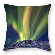 Aurora Borealis Over Toviktinden Throw Pillow