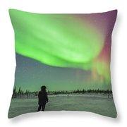 Aurora Borealis With Vega And Arcturus Throw Pillow