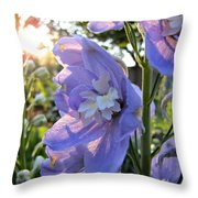 Aurora Light Purple Delphinium And Sunset No. 2 Throw Pillow