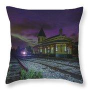 Aurora Over The Crawford Notch Depot Throw Pillow