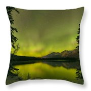 Aurora Over The Forest Throw Pillow