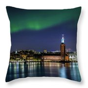 Aurora Over The Stockholm City Hall And Kungsholmen Throw Pillow