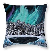 Aurora's Fiery Display Throw Pillow