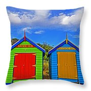 Aussie Beach Boxes Throw Pillow