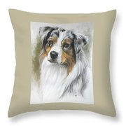 Aussie Shepherd Portrait Throw Pillow
