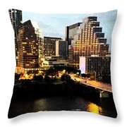 Austin At Dusk Digital Art Throw Pillow