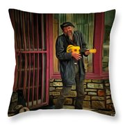 Austin Musician Plays The Blues Throw Pillow