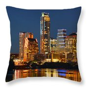 Austin Skyline At Night Color Panorama Texas Throw Pillow by Jon Holiday