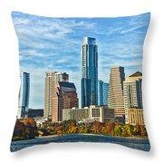 Austin Skyline Panorama Throw Pillow